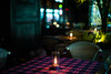 candle on table (N.sino) Tags: m9 summiluxm50mm yurakuchou candle restaurant キャンドル 有楽町 レストラン テーブルクロス 丸の内