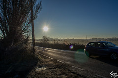 Morning Drive (MrStuy) Tags: grove ferry preston misty morning sunrise road car sun sky