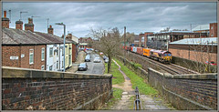 For a limited period only..... (david.hayes77) Tags: 66053 class66 shed dbs dbschenker macclesfield freight containers intermodal cheshire 4l56 byronslane oldmilllane squarestreet 2016 ews street terracehouses