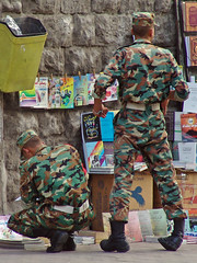 Syrian soldiers in Damascus (CharlesFred) Tags: man male men soldier boot boots military caps middleeast cap syria soldiers damascus dama unifrom bookstall 58220207