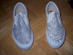 The custom Wenzel vans (underwhelmer) Tags: illustration shoes illustrated vans slipons customshoes cityandcountry