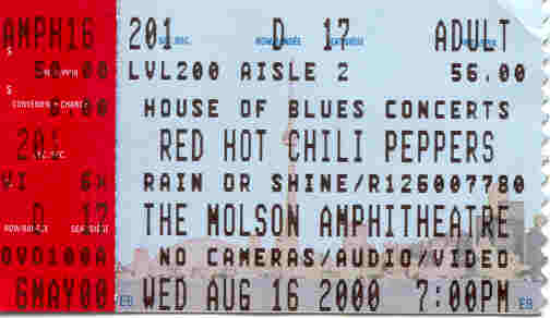 August 16, 2000 - Red Hot Chili Peppers