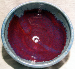 sq cir red bowl (Niso30) Tags: red blue copperred rutileblue cone10 reduction stoneware bowl pottery ceramics tableware