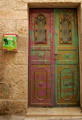Scrambled door (ido1) Tags: jerusalem israel door color scramble post box red green yellow brown canon canoneos1dmk2 mail mailbox colors 9 paint nahalatshivaa