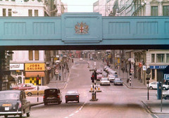 Ludgate Circus 1977 (Danny McL) Tags: bridge london mercedes taxis fleetstreet cityoflondon ludgatecircus fordcortina abbeynational morrismarina jobsgalore longmansflorists