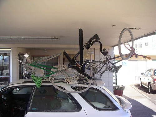 abstract sculpture with bicycles