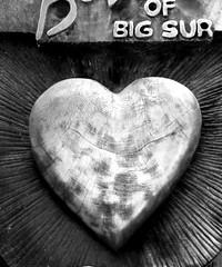 i heart big sur (emdot) Tags: bigsur highwayone hwy1 california heart wood carving embadge
