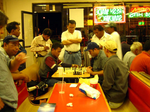 Midnight chess at the donut shop
