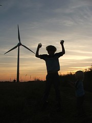 stabbed (vvt) Tags: windmills windturbines somerton norfolk sunset sky clouds jump jumping silhouette boy vvt favme 15fav wow