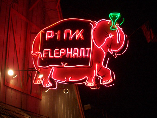 The Pink Elephant bar, Monte Rio, California