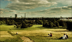 . Primrose Hill . (3amfromkyoto) Tags: 2005 autumn trees woman man london grass clouds geotagged zoo couple afternoon camden hill saturday lovers september late aviary primrose geo:lat=515393 geo:lon=01602 3amfromkyoto flickr:user=3amfromkyoto
