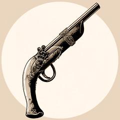 Har har matey (-Antoine-) Tags: illustration circle gun arm drawing antique dessin pirate pistol round cercle pistolet fusil arme thunderstick antoinerouleau