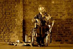 Ability (.brian) Tags: travel busker music violin streetperformer london sepia wheelchair portrait