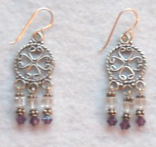 Swarovski crystal (clear/purple) and sterling silver chandelier earrings - FAIR TRADE