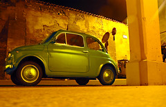 green 500 (ilmungo) Tags: cinquecento fiat night nightshot bologna vicolobolognetti bathed catchycolors green yellow 500 topv111