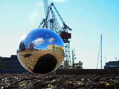 Crome ball (digikuva) Tags: topv111 ball finland mirror helsinki europe heiluht 600 shining shipbuildingdock shiningballs metallicobjects