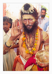 Rajasthani Baba (Elishams) Tags: portrait orange india asia indian religion beggar varanasi hindu indianarchive hinduism kashi baba tika sadhu banaras benares travelstory uttarpradesh  indedunord