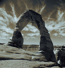 Delicate Arch, Arches National Park, Utah (DH Kong) Tags: arch delicatearch bw square landscape beauty natural rock sandstone clouds nature splittone wow 100v 10f