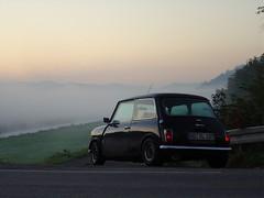 Early sunrise on way to school (Strassenbelag) Tags: fall autum minicooper mini cooper fog mystic myth sunrise dawn car street lone morning daylight classicmini leyland morris austinmorris austin rover fogg