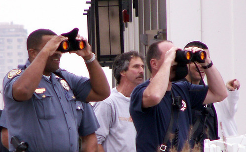2005 october cops nj binoculars firemen ahoy policeofficers searching policemen firstaid longbranch windadvisory lookingforsailboatindistress smallcraftwarning msh0107 msh01073