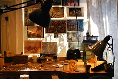 artist's workspace (jen clix) Tags: workspace studio artist jewelrymaker lamps postcards materials santacruz window