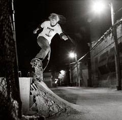Grumpy pivot to fakie R.I.P. the spot (candersonclick) Tags: skateboarding pivot2fakie concrete diy nightshots hasselblad slaveflashes mediumformat trix