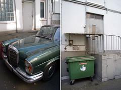 (ein jan) Tags: door green trash studio mercedes gray courtyard florian kraftwerk dsseldorf mll hinterhof florianschneider klingklang