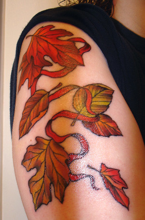 red leaf tattoo