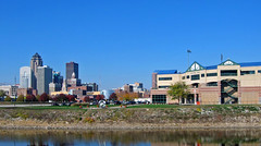 Downtown Skyline (akoestner) Tags: iowa desmoines autumn raccoonriver river water reflection fall downtown buildings skyline baseball stadium diamond iowacubs principal principalpark