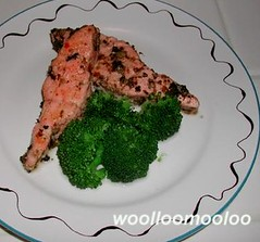 salmon with olive  tapenade (woolloomooloo) Tags: woolloomooloo homemade food meal lunch dinner fish salmon nikondigital ikitchen olive tapenade