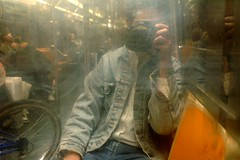 nyc subway mirror me selfportrait levis jeanjacket story ntrain