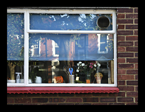 Kitchen window with pumpkin