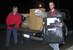 A Truckload from IKEA (AntyDiluvian) Tags: linda andy newjersey apartment october2005 ikea driving dodge pickup pickuptruck carpet cartons unload