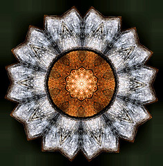 mahogony mandala II (omnos) Tags: orange brown sun flower color reflection art texture colors topv111 grey small radiance kaleidoscope mandala symmetry ii drawingbased replication mahogony onblack omnos fittingin interestingness245 interestingness500 i500