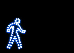 The Walk Man Unleashed (citybumpkin) Tags: nyc newyorkcity signs topv111 lights topv333 humor signals