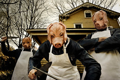 Media Bias: Axis of Evil (Xylonets) Tags: composite fairytale dinner photoshop dark grim 100v10f masks 500v50f pigs amerika neverland cinematic tableau threelittlepigs narrative xylonets