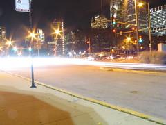 IMG_1179 (CrossingTheContinent) Tags: park street columbus chicago building cars car skyline night lights evening illinois downtown michigan lakemichigan lakeshoredrive nighttime monroe grantpark streaks chicagoillinois monroestreet columbusdrive