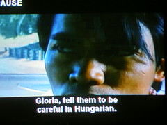 He's not Gloria. (MFinChina) Tags: tv subtitles framecatch television gloria hungarian tonyjaa badsubtitles movie pirate bootleg tomyumgoong