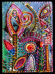 Octopus Garden 8-2005 (creativechick) Tags: abstract art garden beads cool artist susan folk outsider octopus symbols textiles fiber sorrell colourartaward thebestpool colorfullaward