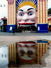 luna park entrance reflection @ Milsons Point, Sydney (Vanessa Pike-Russell) Tags: park city motion color reflection architecture fun interesting bestof slow catchycolours vibrant sydney fast australia cm finepix nsw mostinteresting fujifilm lunapark rides portfolio splash flickrcentral popular exciting h20 2007 myfaves shutterspeed milsonspoint explored criticalmasses cm055 lilcrabbygal vanessapr mootrade vanessapikerussellcom vanessapikerussell auselite featuredhome