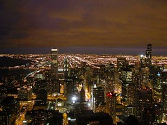 Chicago at Night (therese flanagan) Tags: city urban chicago topv111 skyline architecture nightshot explore chicagoatnight thereseflanagan thereseflanagancom chicagonightshots