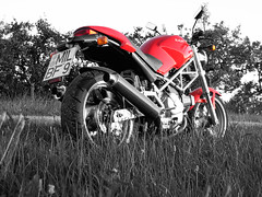 My Ducati Monster (Photoshopped) (picknicker) Tags: red bw monster topv111 photoshop geotagged photoshopped topv222 motorbike motorcycle ducati ixus400 ducatimonster