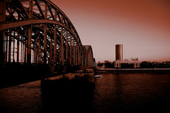 Kln, Across the Rhine (monkey_pushover_tree) Tags: bridge water germany cologne kln rhine 43 dutone scoreme43 err99