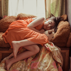 flaming tween (Kelly Crabtree Photography) Tags: sleeping orange girl kid tween flamingjune