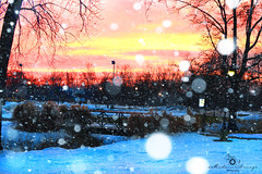Winter Sunset- Romulus, MI #winter #snowfall #sunset #romulusmichigan #snow #bridge (nikkigarcia03) Tags: bridge winter sunset snow snowfall romulusmichigan