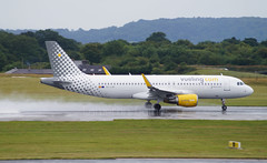Vueling A320-214(WL) EC-LVP. 26/07/15. (Cameron Gaines) Tags: barcelona from uk 3 man back airport flyer spain aviation bcn flight terminal international toulouse departure takeoff runway departing manchster egcc vueling 23r eclvp 260715 a3202149wl