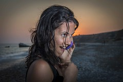 Phoney (christopherpaparisvas) Tags: camera sunset portrait girl smile tou pretty flash petra cyprus off phoney romiou