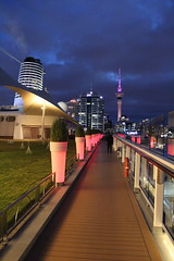 ships deck at night (KENO Photography) Tags: ocean street new city sunset sea cloud tower water skyline architecture night port marina buildings lights evening bay seaside downtown ship cityscape skyscrapers pacific harbour dusk famous nobody landmark illuminated deck auckland zealand nz skytower metropolis seashore devonport waitemata