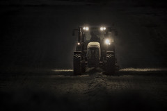 Monsters in the Night (Vemsteroo) Tags: tractor france night rural work canon lowlight farming machinery mysterious 5d crops farmer agriculture southoffrance charente 70200mm mkiii