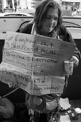 homeless for the holidays (vhines200) Tags: sanfrancisco homeless panhandler 2016 sign marketstreet blackandwhite monochrome californians